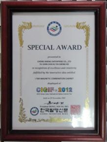 Special Award 2012 Cyber International Genius Inventor Fair inKorea.